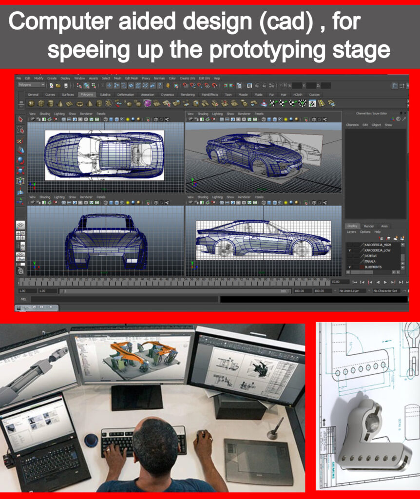 If the recent technological advancement and breakthrough has made product prototype development much more affordable and personal thanks to small scale manufacturing machines like 3D printers , cnc machines for wood , plastic and metals and even personal manufacturing machines for PCB designs . The most important tool of all is working on prototype design visualisation before making the decision to start building , even before the dawn of the digital revolution in the 50s , prototype design was made on papers to give a clear perspective on how the end result will look like , thus saving considerable amounts of time and financial resources , because making these design changes during the prototype building phase would be extremely expensive . Product design and visualisation is performed using dedicated computer software like Autodesk autocad , Autodesk maya and solid works but they all start with sketches made on papers or tablets .