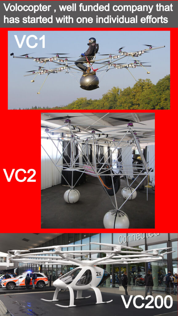 Another great example to show that this approach can be in most cases effective is the volocopter electric helicopter with multiple rotors . This German company has started in 2011 when its founder Alexander Zosel has created the demonstrator prototype VC1 .