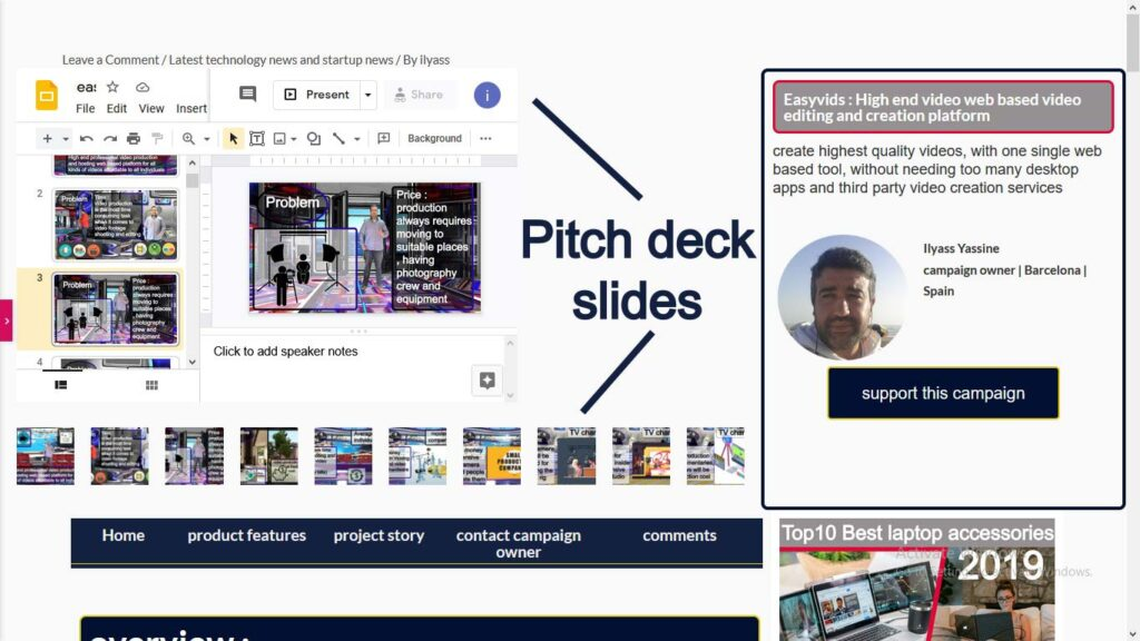 startup campaign page_ pitchdeck slides